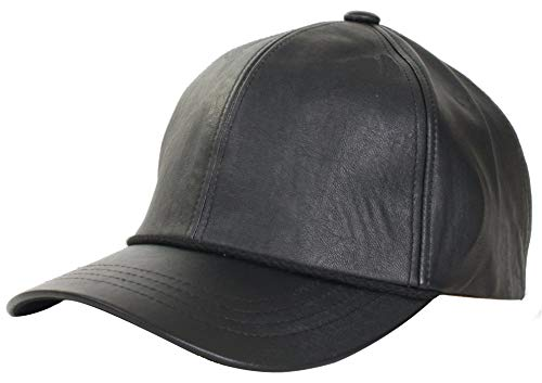 Levine Men's Structured Fitted Garment Leather Baseball Cap (Large (fits 7 1/4 to 7 3/8), Black)