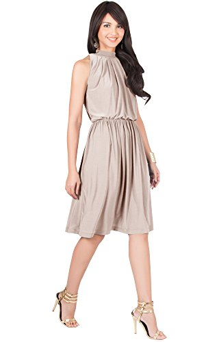 KOH-KOH-Womens-Sleeveless-Bridesmaid-Halter-Neck-Flowy-Wedding-Party-Work-Knee-Length-Day-Formal-Dressy-Summer-Casual-Sexy-Sundress-Mini-Midi-Dress-Dresses-Tan-Light-Brown-L-12-14