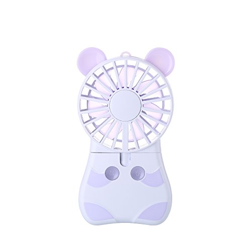Innerest Mini Cooling Fan Personal Handheld Standable Multi-color LED Lights 2 Adjustable Speeds Travel Camping Festival Uses Mini One Size, Mouse Fan- Lavender