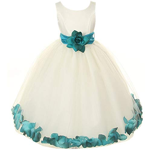 (Baby Girls Ivory Bridal Satin Bodice Double Layer Tulle Skirt Teal Organza Sash Flower Petals - Size L )