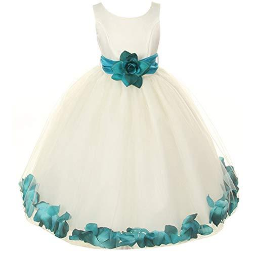 Ivory Organza Flower Girl Dresses - Little Girls Ivory Bridal Satin Bodice