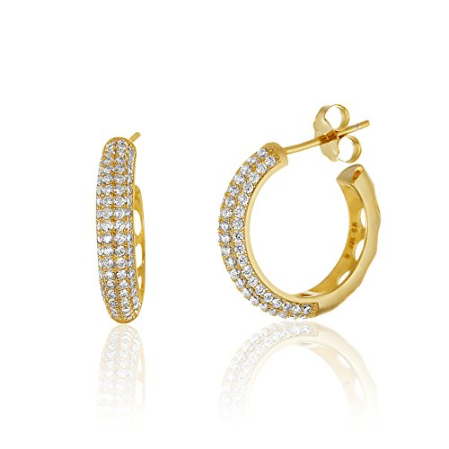 18K White / Gold Over Sterling Silver Cubic Zirconia Cubic Zirconia Pave 19MM Huggie Hoop Earrings (How To Make A Halo Costume)