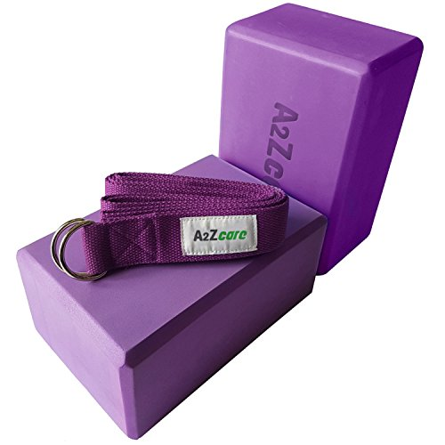 A2ZCARE Yoga Blocks (Set of 2) and Yoga Strap Set with D-Ring – Yoga Foam Block 9x6x4 inch and Yoga Stretching Strap (Purple)