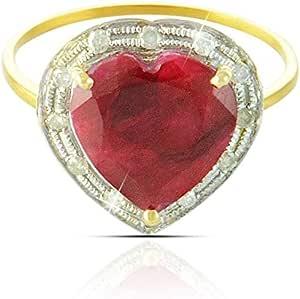 Vera Perla 18K Gold Heart Cut Ruby 0.13 Ct. Diamond Ring-Size 6.5 US