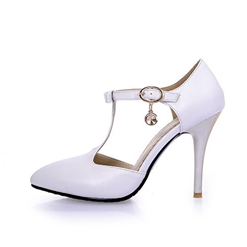 AllhqFashion Women's Buckle High-Heels PU Solid Pointed Closed Toe Sandals White kDJAjKAle