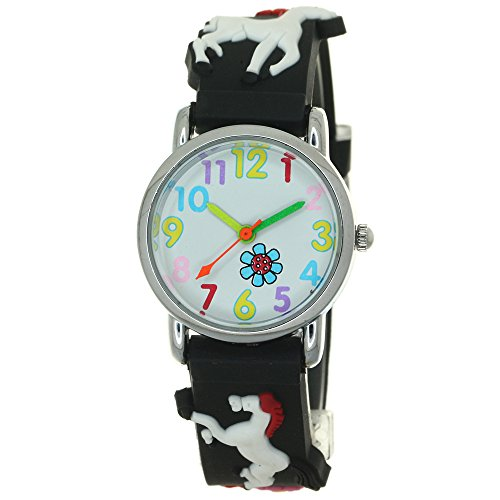 Pony 3D Silicone Strap Round Case Japanese Quartz Kids Waterproof Clasp Rubber Band Arabic Numerial Dial Children Toddler Wristwatches Horse Flower Time Teacher Boys Girls Little Child Unisex Watches ()
