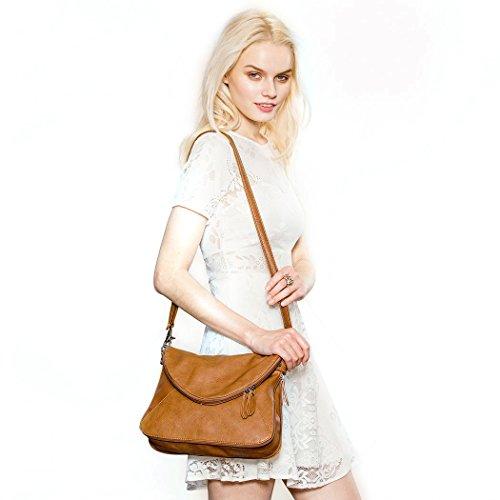 For Brown Satchel Bags Crossbody Women Bag Shoulder Medium Tote Zipper wPqXzF