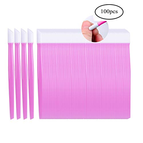 Siusio 100 Pcs Plastic Nail Art Tool Handle Tipped Rubber Cuticle Pusher and Nail Cleaner - Pink