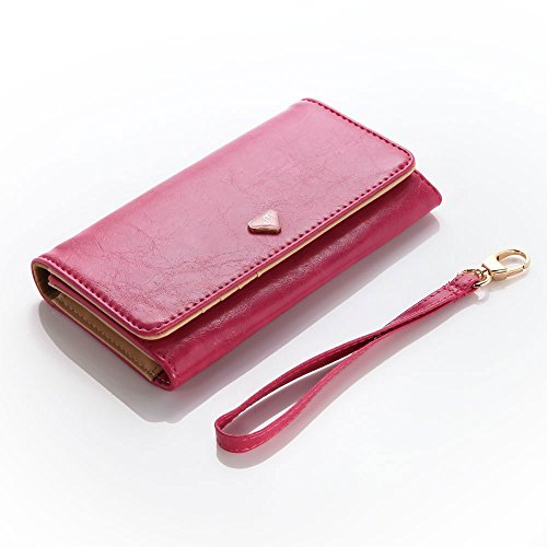 Cooper Cases(TM) Flirt Universal Huawei Ascend P6 / P6 S / P7 Mini/Plus (H881C) Smartphone Wallet Case in Hot Pink (Wrist Strap, Credit Card/ID Slots, Slip Pocket & Zipper Coin Purse)]()