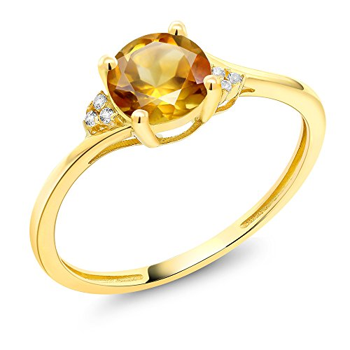 0.75 Ct Yellow Diamond (10K Yellow Gold Diamond Accent Engagement Ring Set with 6mm 0.75 Ct Round Yellow Citrine (Ring Size 6))