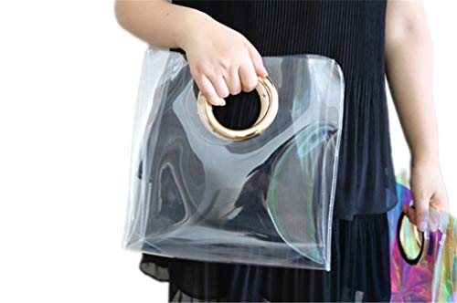 ANANXILA Fashion Transparent Tote Bag Women Handbag Round Circle Handbag Beach Bags clear 27cm by ANANXILA