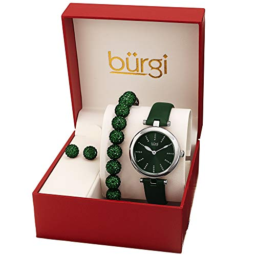 Burgi BUR241 Ladies Gift Set with a Stylish Case Watch with Leather Strap, and Glitter Markers, Crystal Beaded Bracelet and Crystal Earrings (Green/Silver)