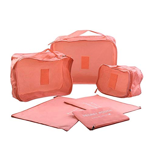 6 Set Travel Organizers Packing Cubes Laundry Bag Luggage Compression Pouches, Travel Packing Pouches from Keweis