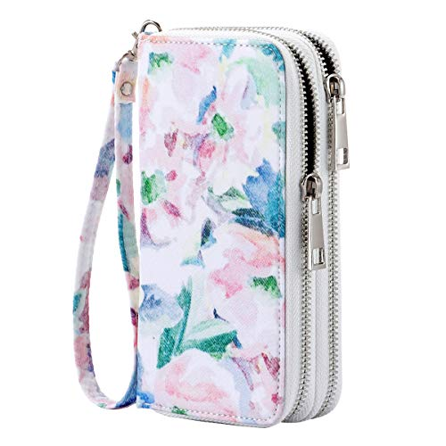 HAWEE Cellphone Wallet Dual Zipper Wristlet Purse with Credit Card Case/Coin Pouch/Smart Phone Pocket Soft Leather for Women or Lady, Ink Painting Flower