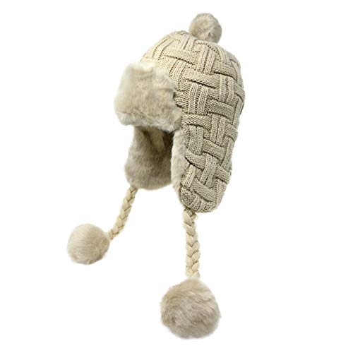 (High Desert Gear Women's Knit Peruvian Beanie Hat Winter Warm Fuzzy Cap with Earflap Pom Pom Ski (Beige))