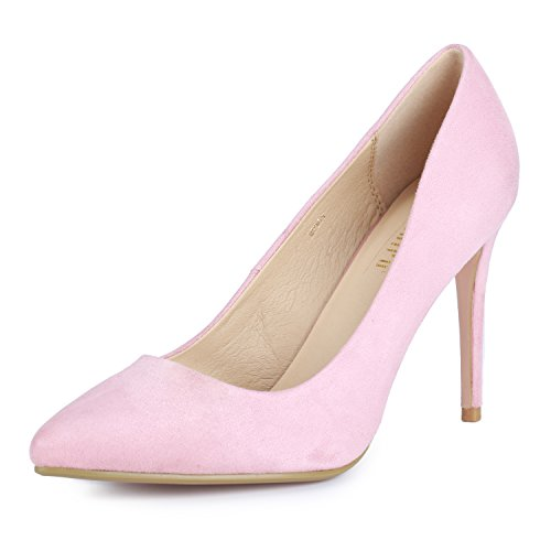 IDIFU Women's IN4 Classic Pointed Toe Stiletto High Heel Dress Pump (Pink Suede, 8 B(M) US)