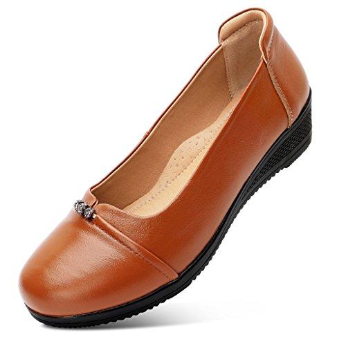 ZCJB Zapatos De Mujer De Mediana Edad Zapatos De Mamá Zapatos De Mujer Zapatos De Trabajo De Cuero De Temporada De Primavera Mujer Parte Inferior Plana ( Color : Yellowish brown , Tamaño : 39 )