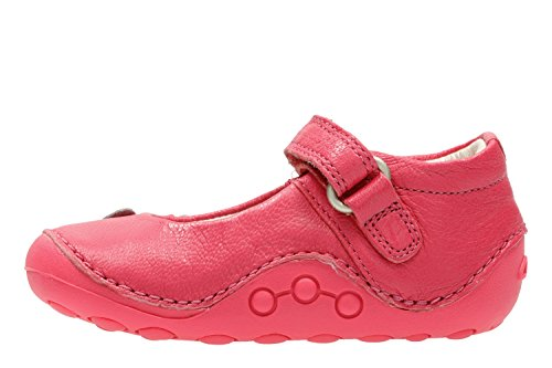 Clarks Little Mia, Mocasines Gatean para Bebés Hot Pink Leather