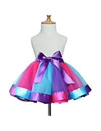 TRADERPLUS Baby Girls Layered Rainbow Tutu Skirt Ballet Dance Dress Ruffle Costume