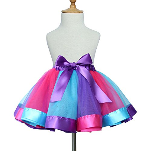 (TRADERPLUS Baby Girls Colorful Layered Dance Outdoor Rainbow Tutu Skirt (Medium 4-6 years, A))