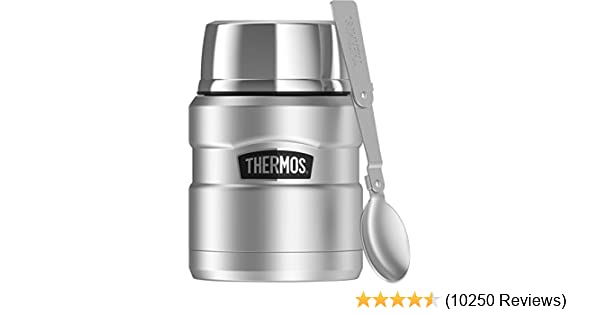 Thermos Stainless King 16 Ounce Food Jar with Folding Spoon, Stainless Steel