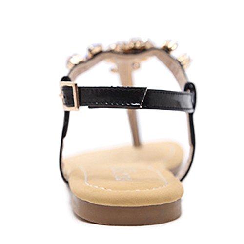 Beste Tijd Vrouwen Gladiator Strass String Sandalen Zomer Gesp Strand Gesp Glijbaan Op Platte Schoenen Zwart