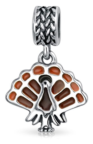 Thanksgiving Turkey Bird Food Holiday Brown Enamel Dangle Bead Charm 925 Silver For European Bracelet For Women