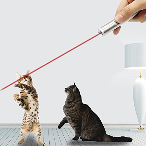 Coolrunner 2 Pack Cat LED Pointer, Red Light Pointer for Cats, Cat Chaser Toy, 2 in 1 Interactive Kitty Toys with Red Dot and Flashlight (Powered by Battery - 2Pack)