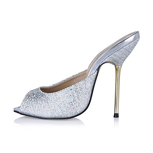 The annual New female sandals temperament and black white silver fish nose high-heel slippers Silver checkered 91LpP