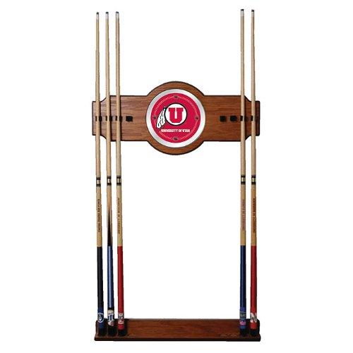 NCAA University of Utah Billiard Cue Rack with Mirror by Trademark Gameroom