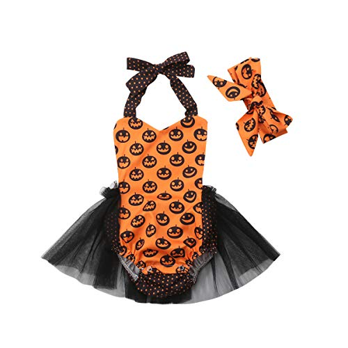 Halloween Toddler Baby Girl Romper Cartoon Pumpkin Rompers Lace Tutu Jumpsuit with Hairband (0-6Months) ()