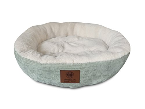 American Kennel Club AKC Casablanca Round Solid Pet Bed, Green