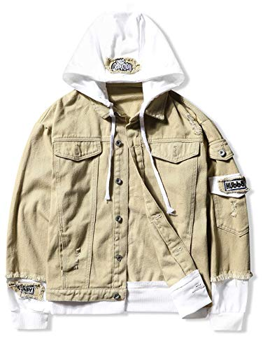 ZEZCLO Unisex Casual Distressed Hooded Jacket Ripped Letter Patch Men Hoodie Faux Two Piece Jackets Light Khaki M ()