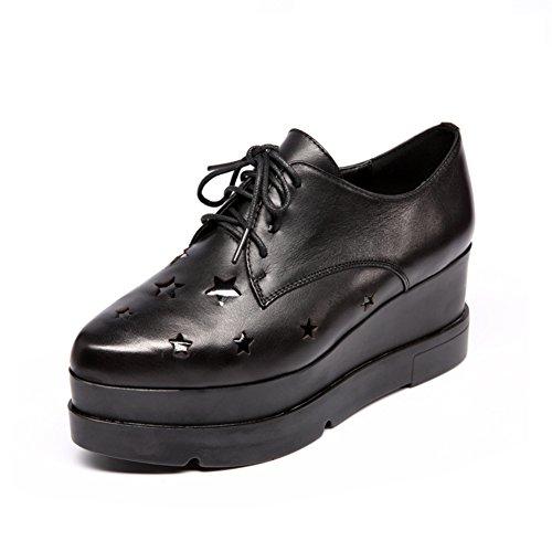 cuña el de suela Zapatos gruesa A la otoño señora de plataforma Zapato Zapatos de profunda boca en YzqYw7H
