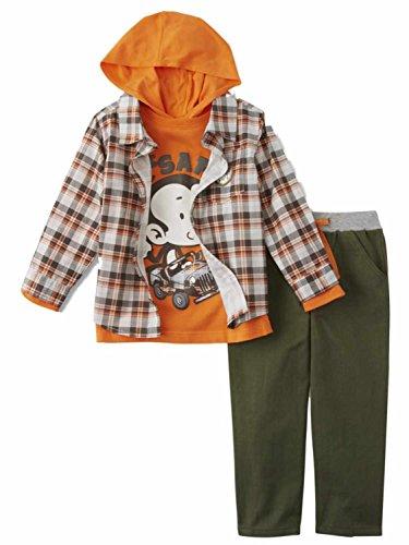 Outfit Kids Safari (Little Rebels Infant & Toddler Boys 3P Safari T-Shirt Plaid Shirt & Pant Set)