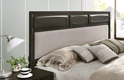 Roundhill Furniture B138KDMN2C Oakland Wood Bedroom Set with King Bed Dresser, Mirror, 2 Nightstands, Chest Antique Gray