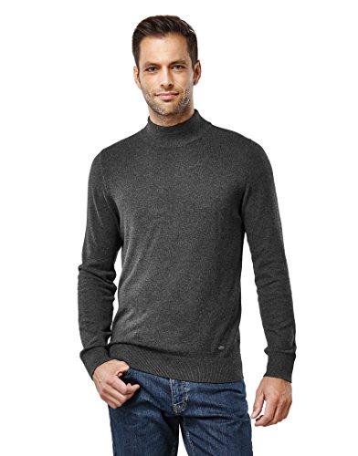 Vincenzo Boretti Men's Sweater with ribbed turtle-neck, slim-fit,anthracite,Large (Fair Isle Turtleneck Sweater)