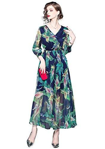 Casual Women's Dress Style Round MENG FIVE CATS Party A Neck LAI 7 Maxi Print line Boho Floral qfFt84n