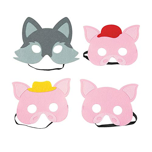 Fun Express Three Little Pigs & Big Bad Wolf Masks | 4 Count | Great for Costume Parties, Classroom Activities, Storytelling, Art Supplies