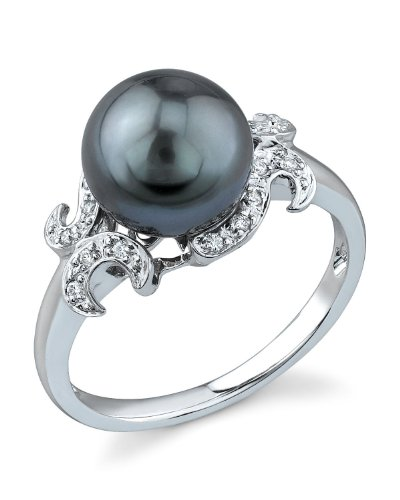 THE PEARL SOURCE 14K Gold 8-9mm Round Genuine Black Tahitian South Sea Cultured Pearl & Diamond Crown Ring for Women