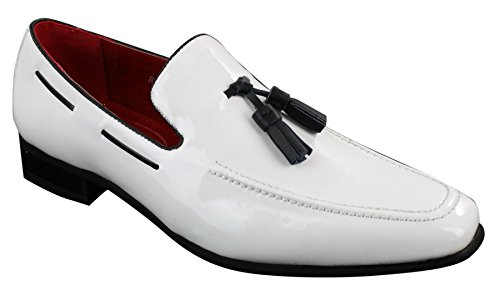 Rossellini Mens Slip On Patent Shiny Tassle Driving Loafers Shoes Leather Smart Casual White 12 (Leather Patent Jersey)