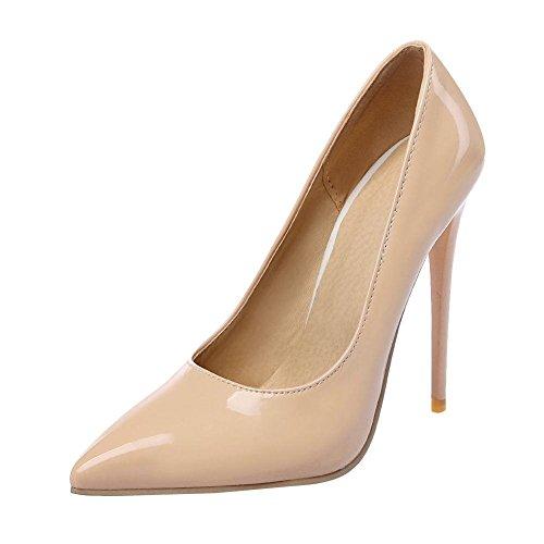 YE Damen Stiletto High Heels Lack Spitze Pumps mit 12cm Absatz Elegant Schuhe Beige