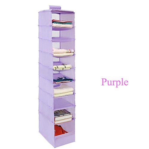 Clothes Storage - 9 Cell Hanging Box Underwear Sorting Clothing Shoe Jean Storage Mails Door Wall Closet Organizer Closet Organizador Bag - Hanging Closet Organizer (purple) First Sunday After Christmas Prayer