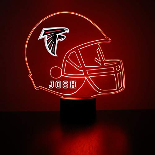 Mirror Magic Store Atlanta Falcons Football Helmet LED Night Light with Free Personalization - Night Lamp - Table Lamp - Featuring Licensed Decal (Atlanta Store Home)