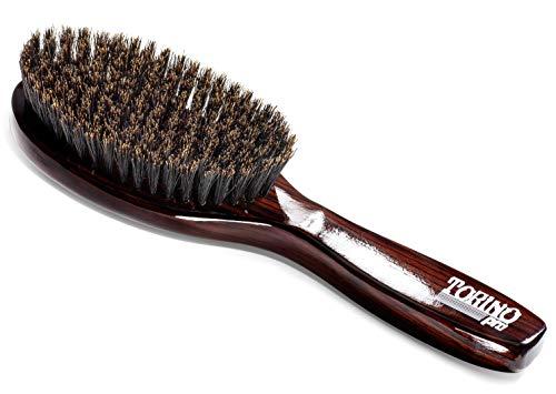 Torino Pro Wave Brush #1160 - By Brush King - Medium Soft Oval Palm/Military with Long Handle 360 Waves Brush