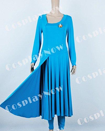 CosplayNow Star Trek Deanna Troi Cosplay Costume Dress Blue Custom Made by CosplayNow (Image #5)