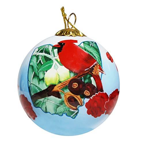Art Studio Company Hand Painted Glass Christmas Ornament - Ohio State Icons