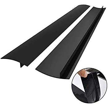 Kitchen Silicone Stove Counter Gap Cover, Easy Clean Heat Resistant Wide & Long Gap Filler, Seals Spills Between Counter, Stovetop, Oven, Washer & Dryer, Set of 2 (25 Inches, Black)