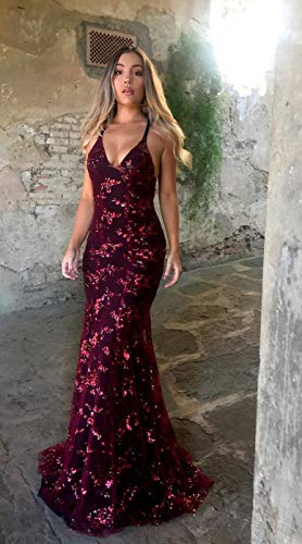9bbd99f90cc0 AnnaApparel Women Sexy V Neck Sequin Mermaid Prom Dress Sleeveless Maxi  Fishtail Evening Party Dresses at Amazon Women s Clothing store