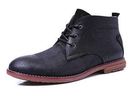 Casual Da Uomo In Pelle Di Vitello Caldo Foderato Con Cinturini Alla Caviglia E Punta Rotonda Martin Boots Neri